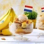 Gelato alla cannella con banana Chiquita e stroopwafel olandese croccante