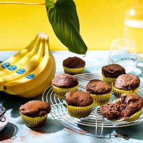 Muffin vegani al cioccolato e banane Chiquita