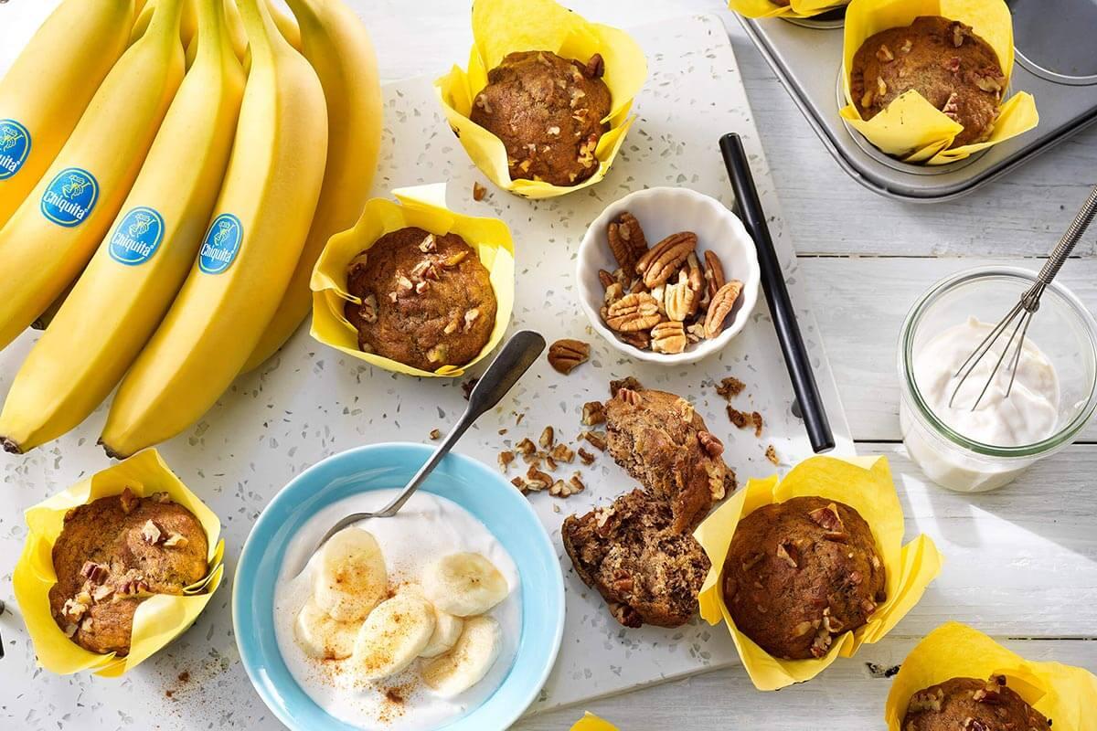 Muffin vegani con banane Chiquita e noci pecan