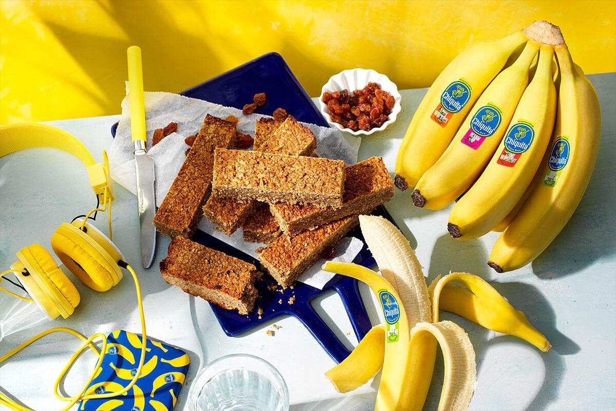 Barrette proteiche di banana bread con banane Chiquita